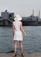 Laslusa İçten Ayarlanabilir Hasır Tas Fiyonklu Geniş Kenar Şapka Beyaz